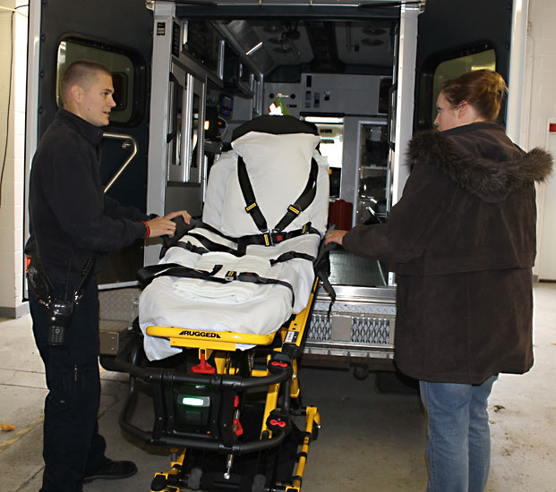 EMS train with new cots