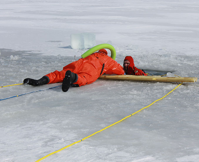 Fire and Rescue take icy plunge for training