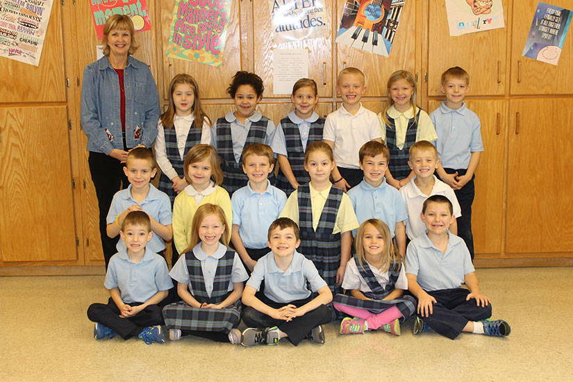 First-grade students in Moenter's class at St. John's Elementary School