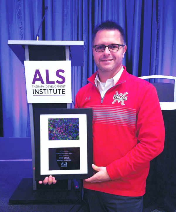 Jeff Swick, shortly after accepting the Fran Delaney Challenge and Respect Award at the ALS-Therapy Development Institute's Leadership Summit in Boston on Nov. 16. (Photo submitted)