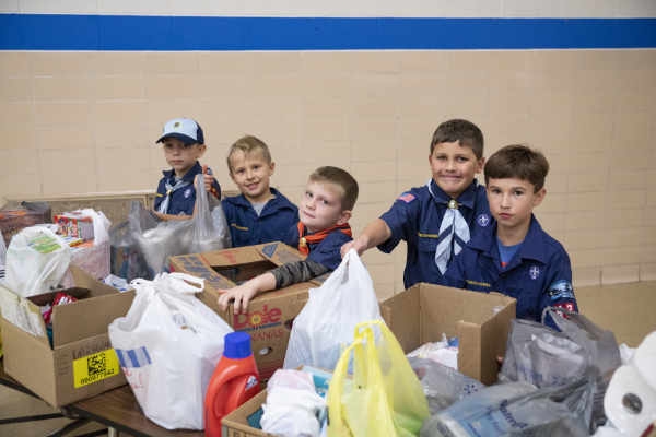 The Cub Scouts of Delphos Pack 42 recently collected goods to donate to the Veterans Food Pantry in Lima.