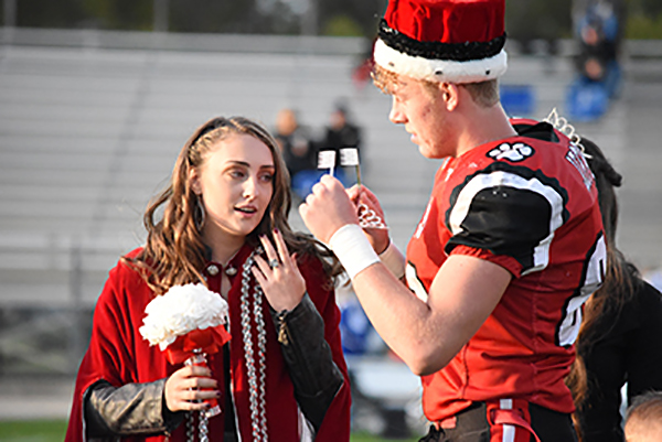 Sydnie McGue was crowned the 2019 Jefferson High School Homecoming Queen by her king, Doug Long Jr., Friday during prior to the Wildcat football game against Allen East. (DHI Media/Joe Dray)