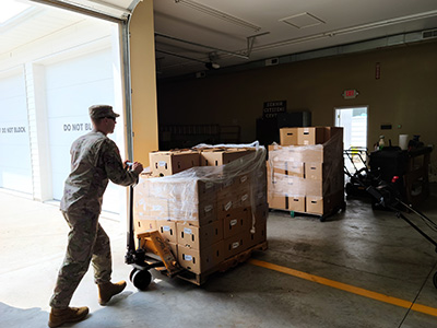 Delphos Senior Citizens received 96 boxes of fresh produce from the West Ohio Food Bank, delivered by the Ohio National Guard. (Photo submitted)