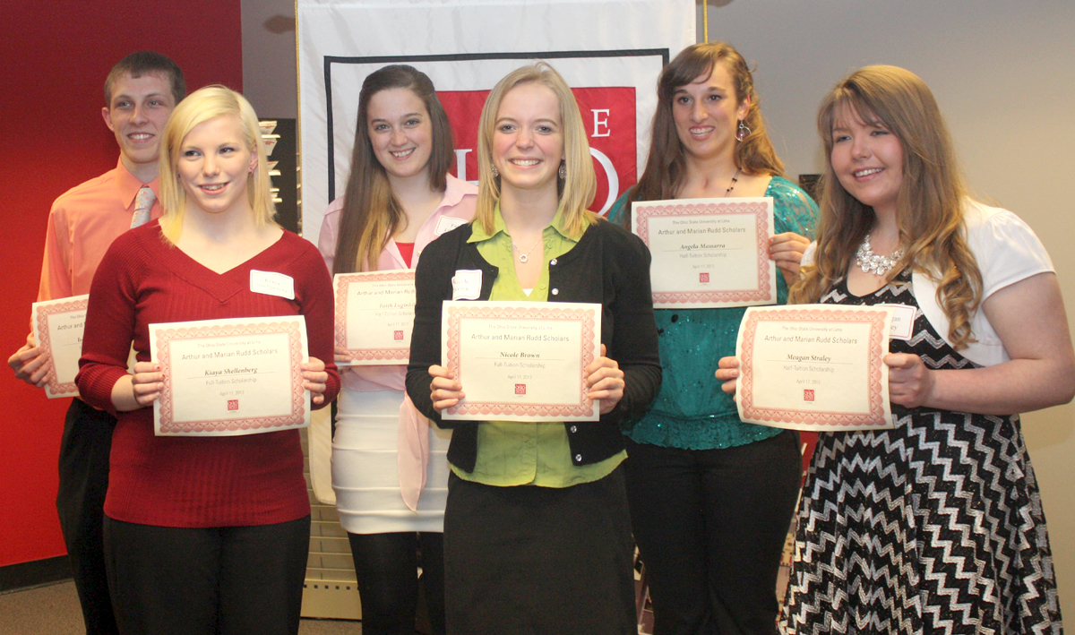 Six incoming freshmen students at Ohio State Lima received full- or half-tuition scholarships from the Arthur and Marian Rudd Fund. Winners are, from left, Isaac Altenburger, Kiaya Shellenberg, Faith Luginbill, Nicole Brown, Angela Massara and Meagan Straley.