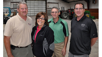 Meeting at the Allen County Fair to discuss the new fan installation in the show arena, from left, Fair Director/Donor Dan Kimmet; Jackie Seibert of United Equity, Delphos; Todd Gable of Gable Family Farms, Delphos; and Todd Schaub of S&S Volvo, Lima. Not available for the picture are donors Eric Fritz, Bobcat of Lima; and Jennifer Neice, Potash Corporation, Lima. (Submitted photo)