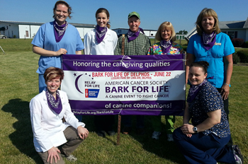 Delphos Animal Hospital is the sponsor for the first-ever Bark For Life of Delphos set from 2-5 p.m. Saturday at Leisure Park. Pictured are the DAH doctors and staff including, from left, Event Chair Dr. Bonnie Jones, receptionist and Administrative Assistant Meghann Myers, Dr. Sara Smith, Dr. John Jones, reception and technician Marla Klaus, receptionist Joyce Ross and receptionist and technician Angela Unverferth. The park is located at 625 Lima Avenue in Delphos. (Submitted photo))