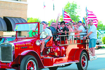 The Ottoville Volunteer Fire Department will host the 139th annual Northwest Ohio Volunteer Firemen's Assoc. Convention June 14 and 15. Above: the Ottoville department participates in the 2012 parade hosted by the Delphos Fire Department. (Herald file photo)