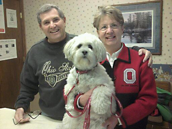 Both cancer survivors, Mike and Sandy Gray say their adopted dog Bentley helped Sandy through her battle with breast cancer this past year. Mike had prostate cancer in 2002. (Submitted photo)