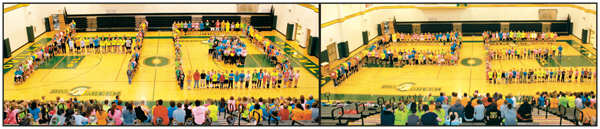 "Ottoville students and cancer survivors spell out the word ""hope"" Friday morning in the school's gymnasium during opening ceremonies of the annual Cancer Walk. (Delphos Herald/Stacy Taff)"