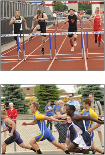 Jefferson's Cody Biglow's (top) personal-best of 39.98 and second place in the 300 hurdles earns him a trip to State in his second event, while in the boys 4x100 finals, St. John's Ben Youngpeter reaches back for the baton from Will Buettner (bottom).  (Delphos Herald/Tom Morris). (Delphos Herald/Tom Morris)