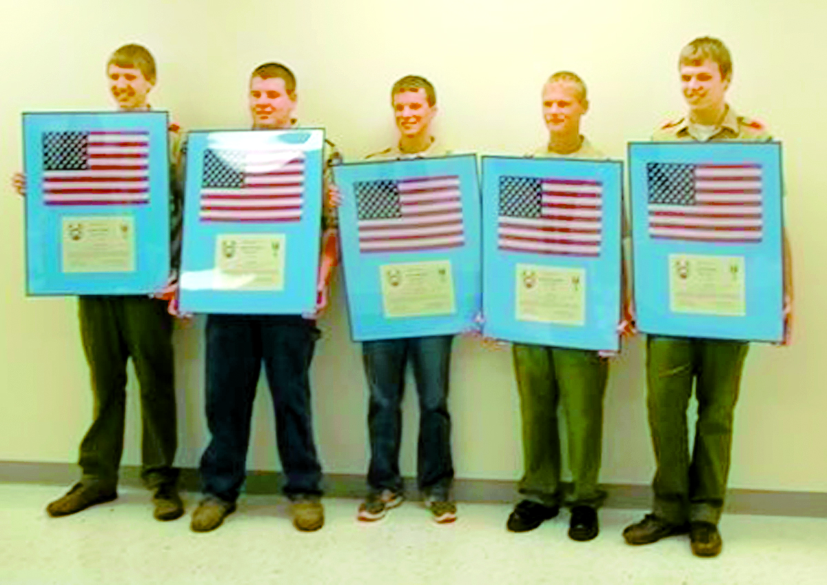 Five Fort Jennings youth recently received their Eagle Scout designation. Logan Sickels, Jacob Young, Adam Kleman, Jared Hoersten and Colin Sickels each earned the rank in October.