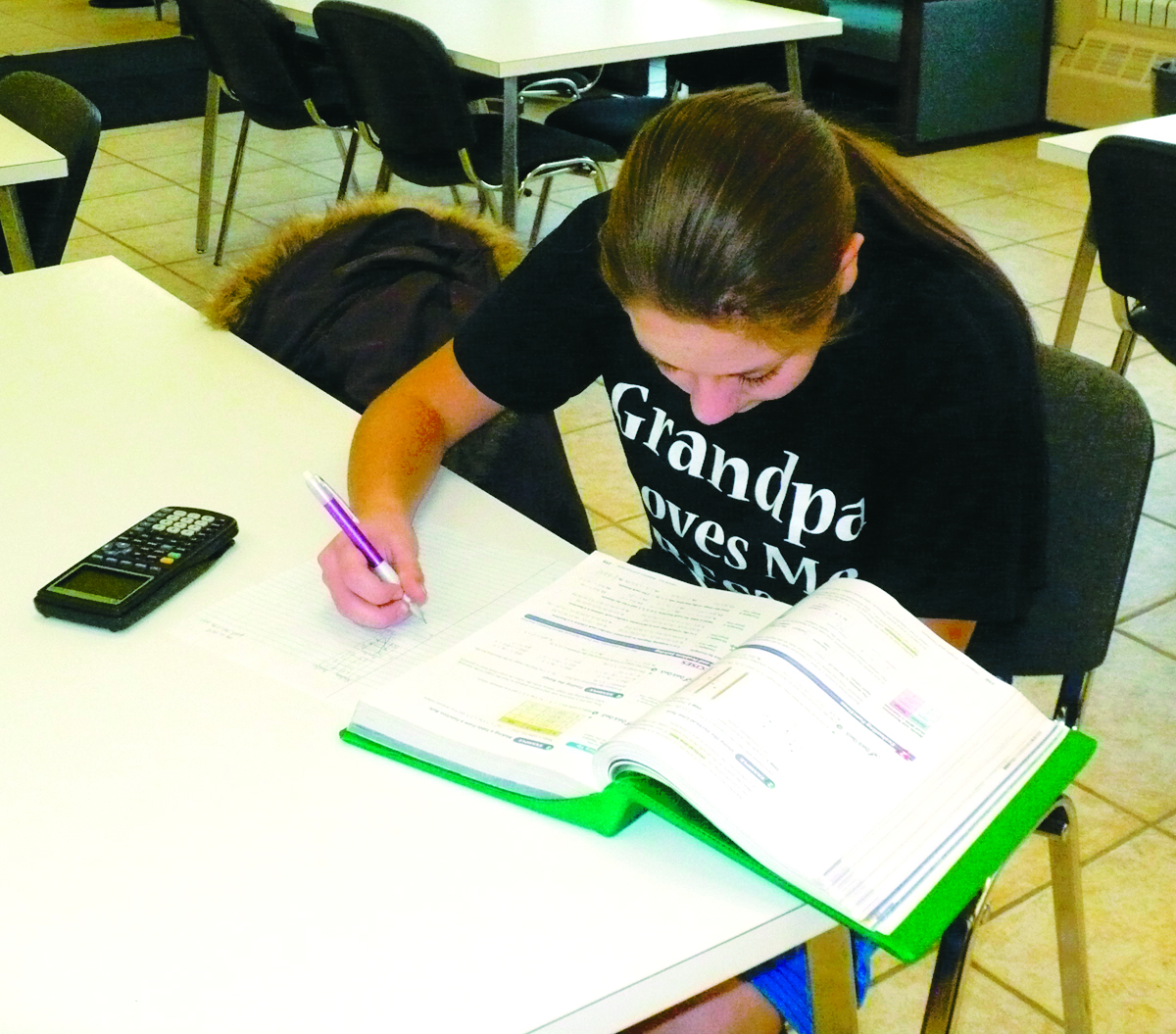 St. John's eighth-grader Kristina Koester went to the Delphos Public Library to study and do her Algebra homework after school Wednesday.