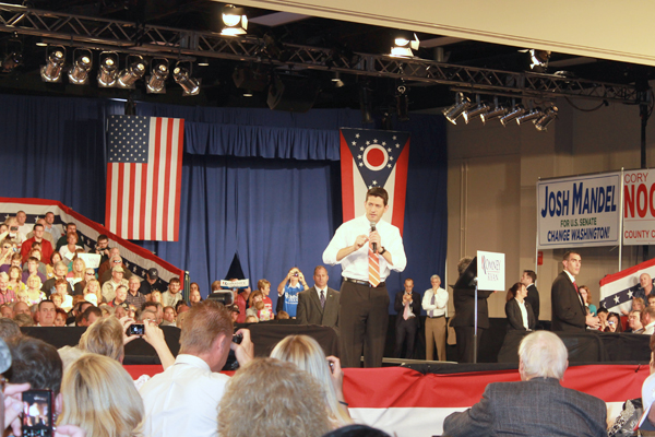 Vice presidential hopeful Paul Ryan spoke to an audience of 2,000 in Lima Monday.
