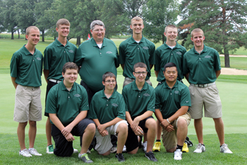 The Ottoville golf crew for the new season has, front from left, Bryce Hoehn, Thomas Waldick, Kaleb Hanicq and Bailey Seibert; and back, Ryan Kemper, Wesley Markward, head coach Jim Brown, Luke Schimmoeller, Brendan Schnipke and Matt Turnwald. (Delphos Herald/Jim Metcalfe)