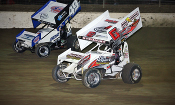 NRA Sprints Shawn Dancer and JR Stewart racing for position at Limaland. (DHI Media/Rick Sherer)