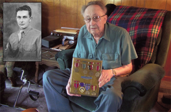 Melvin Kloeppel, 94, received the Purple Heart he earned in World War II in 1945 two weeks ago. Kloeppel  was burned by a hot spent shell that lodged inside his shirt on Easter Sunday in 1945. A photo of Kloeppel when he enlisted in the service is inset. (DHI Media/Helen Kaverman)